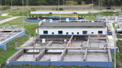 Sewage treatment plant - Waste water treatment plant Stock Footage