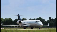 Stock Video Footage of Steering jet Bombardier Canadair CL-600-2B19 Challenger 850, click for HD