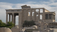 Acropolis old temple of athena, medium shot - stock footage