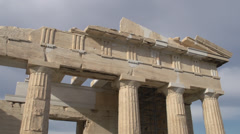 acropolis old temple of athena detail, medium shot - stock footage