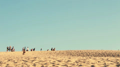 Exploring tallest sand dune in Europe, France Stock Footage