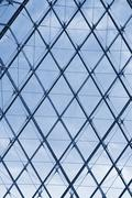 Structure frames of a pyramid, Louvre Pyramid, Musee du Louvre, Paris, France - stock photo