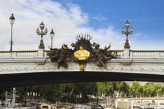 Lampposts on a bridge, Pont Alexandre III, Seine River, Paris, France Stock Photos