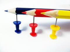 Pencils and Pushpins Stock Photos