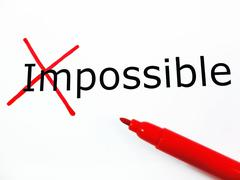 Transforming Word Impossible into Possible - stock photo