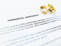 Premarital Agreement with Wedding Rings Stock Photos