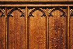 Yksityiskohta puinen paneeli, Oxford University, Oxford, Oxfordshire, England Kuvituskuvat