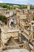 Suuri kuvakulman rakennusten kaupunki, Oxford University, Oxford, Oxfordshire, Kuvituskuvat