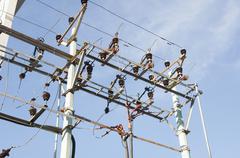 Low angle view of an electricity pylon, Tirupati, Andhra Pradesh, India - stock photo