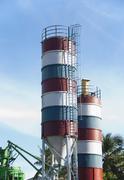 Low angle view of storage tanks, Tirupati, Andhra Pradesh, India - stock photo