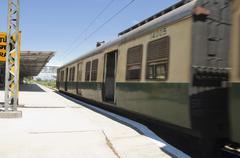 Passenger train at a railroad station, Kanchipuram, Tamil Nadu, India Stock Photos