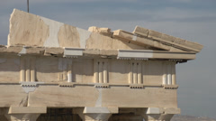 Stock Video Footage of Acropolis old temple of athena detail