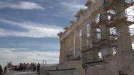 Stock Video Footage of acropolis Parthenon, scaffold and  tourists