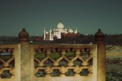 Mausoleum viewed through a balcony of the fort, Agra Fort, Taj Mahal, Agra, - stock photo
