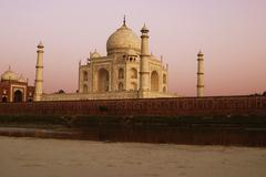 River in front of the mausoleum, Yamuna River, Taj Mahal, Agra, Uttar Pradesh, - stock photo