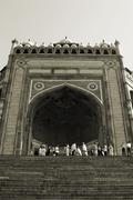 Low angle view of a gateway, Buland Darwaza, Fatehpur Sikri, Agra, Uttar Stock Photos