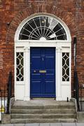 Closed door of a house, Dublin, Republic of Ireland - stock photo