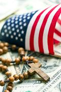 Rosary beads with american flag Stock Photos