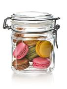 Colofrul macaroons in glass jar Stock Photos