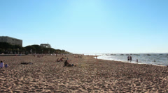 French beach vacation wide shot, Arcachon - 1080p Stock Footage