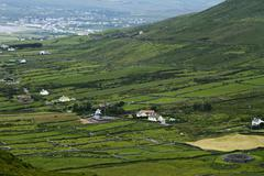 High angle view of farmhouses, Ring Of Kerry, County Kerry, Republic of Ireland - stock photo