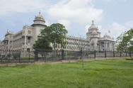 Stock Photo of Trees in front of a government building, Vidhana Soudha, Bangalore, Karnataka,
