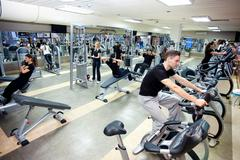 People workout at gym Stock Photos