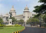Stock Photo of Statue of Subhas Chandra Bose in front of a government building, Vidhana Soudha,