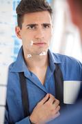 bad shaving - stock photo