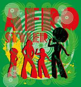 Afro disco girls vector art Stock Illustration