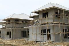 New house under construct Stock Photos