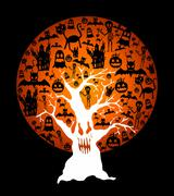 happy halloween full moon and spooky tree illustration eps10 file - stock illustration