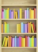 Bookcase with multicolored books Stock Illustration