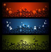 happy halloween trick or treat web banners set eps10 file. - stock illustration