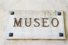 Stock Photo of Close-up of a museum sign, Amalfi, Province Of Salerno, Campania, Italy