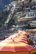 Stock Photo of Tourists on the beach, Amalfi, Province Of Salerno, Gulf Of Salerno, Tyrrhenian