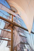 Stock Photo of Sail of a clipper ship, Amalfi, Province Of Salerno, Gulf Of Salerno, Tyrrhenian