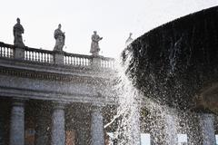 Fountain at St. Peters Square, Vatican City - stock photo