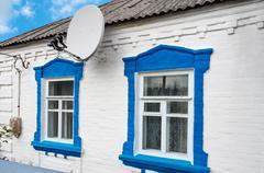 Antenna on farmhouse Stock Photos