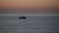 Fishing boat at dawn in Spain Stock Footage