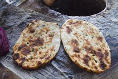 Close-up of Indian breads (Kulcha), Amritsar, Punjab, India - stock photo