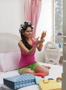 Woman wearing bangles - stock photo