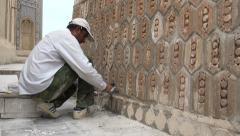 Minaret renovation, Kalon mosque, Bukhara, Uzbekistan Stock Footage