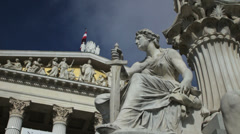 Statue in front of Austrian Parliament - stock footage