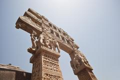 Stock Photo of Carved gateway to the Great Stupa built by Ashoka the Great at Sanchi, Madhya