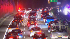 Traffic gridlock on Sydney freeway at night - stock footage