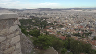 Stock Video Footage of Athens skyline and wall wide shot