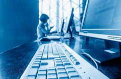 Computer in the library Stock Photos