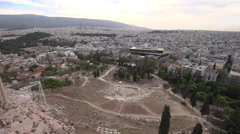 Acropolis ruins below, pan wide shot Stock Footage