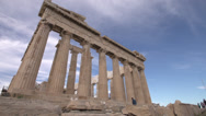 Stock Video Footage of acropolis Parthenon sharp angle wide angle,